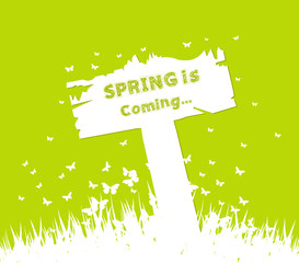 Spring is coming concept with sign post