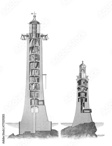 19th century engraving of the old and new Eddystone Lighthouse - 77029283