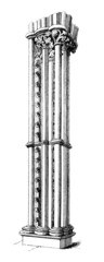 Victorian engraving of a Gothic design pillar