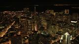 Aerial illuminated view city Skyscrapers, San Francisco, USA