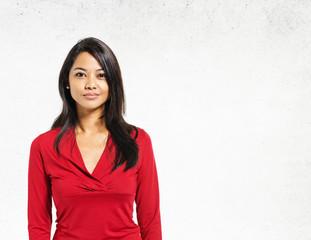 Asian Lady Portrait Concrete Wall Background Concept