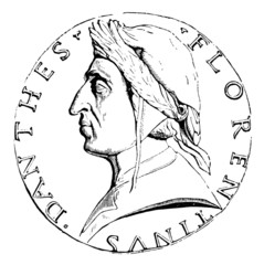 19th century engraving of a Florentine coin