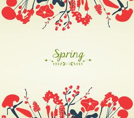 Happy spring flower postcard vintage