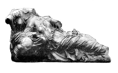Victorian engraving of a frieze from the Parthenon, Athens