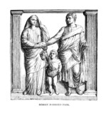Victorian engraving of a frieze of a Roman family