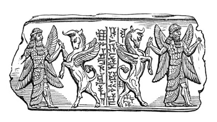 19th century engraving of a Babylonian signet