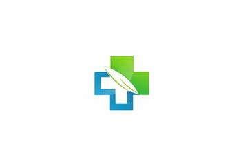 Cross,medical, plus, leaf, nature, logo vector