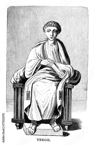 Leinwanddruck Bild Victorian engraving of a depiction of Vergil