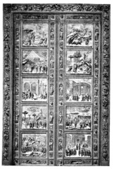 19th century engraving of door at Duomo, Florence, Italy