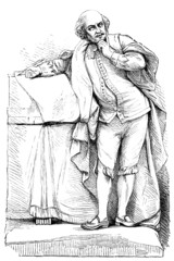 19th century engraving of a statue of Shakespeare