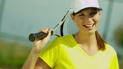 Young Caucasian Female Outdoor Holding Tennis Racquet Close Up