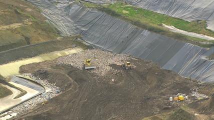Refuse land fill site, Southwest England, UK