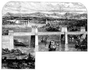 19th century engraving of Menai Bridge, Wales, UK