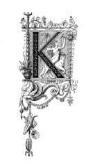 Romanesque Neoclassical design depicting the letter K