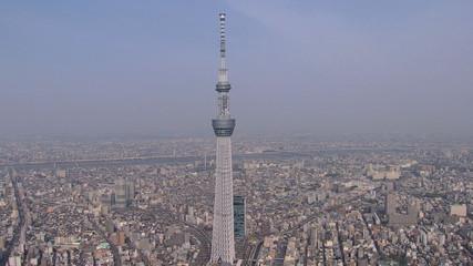 Aerial Tokyo Skytree digital TV observation Tower Japan