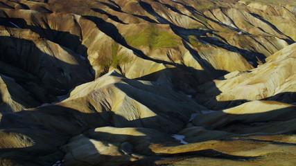 Aerial volcanic landscape colorful highlands Landmannalaugar Iceland