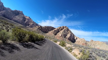 POV road trip Red Rock Canyon vehicle winter climate Mojave Desert Nevada USA
