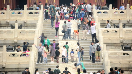 Tourists Temple of Heaven World Heritage Site Beijing China Asia