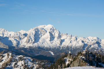 Mount Civetta viewd from Mount Rite during winter