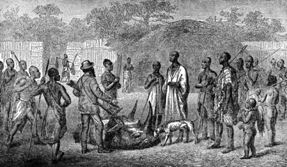 Victorian engraving of an indigenous african village and colonia