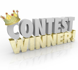 Contest Winner Crown Words Jackpot Lucky Prize Recipient