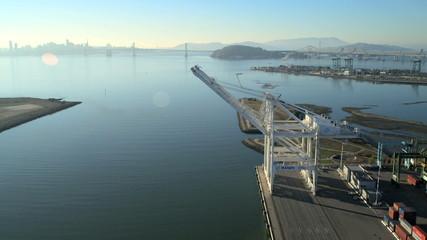 Aerial view Docks Oakland Port San Francisco, USA