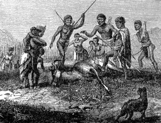 Victorian engraving of a successful hunt by indigenous African h