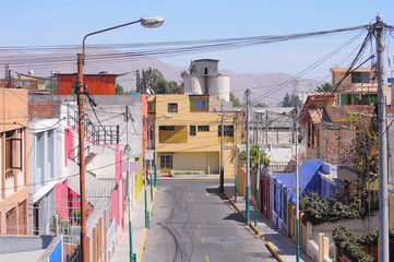 Houses on the streets of the Arequipa at day time.