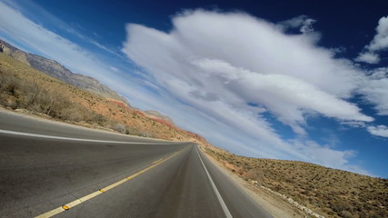 POV vehicle driving Red Rock Canyon State Park Keystone Thurst Nevada USA