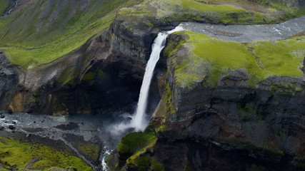 Aerial Haifoss Waterfall Icelandic Highlands White Water Remote Plateau Iceland