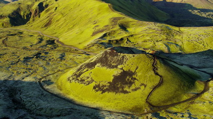 Aerial Volcano Vegetation Mountainous Wilderness Nature Iceland