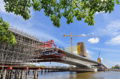 Leinwanddruck Bild Bridge under construction