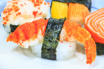 sushi with rolls