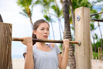 Fitness woman exercising on chin-up bar