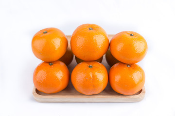 Group of mandarin oranges, tangerines fruit isolated on white ba