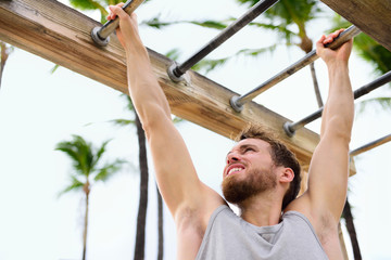 Exercise fitness athlete exercising on monkey bars