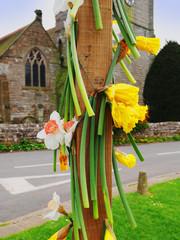flowers outside church for wedding