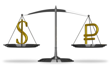 Dollar and ruble sign on scales