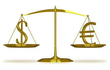 Dollar and euro sign on scales