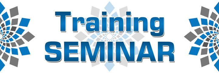Training Seminar Blue Grey Square Elements Banner