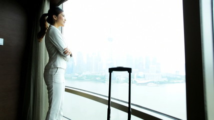 Successful Asian Chinese Businesswoman Penthouse View Accommodation