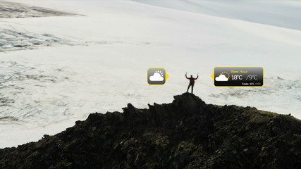 Climber Hiking Rocky Terrain American Male Information Apps Motion Graphics CG