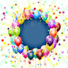 frame with balloons and stars background