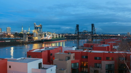 Timelapse of Traffic in Downtown Portland Oregon into Blue Hour