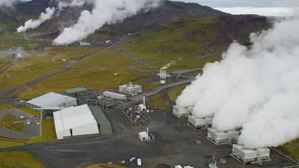 Aerial Geothermal Industrial Renewable Clean Power Energy Plant Iceland