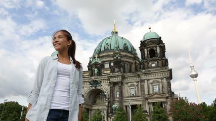 Woman walking in Berlin Germany