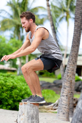 Fitness athlete bench jump squat jumping outside