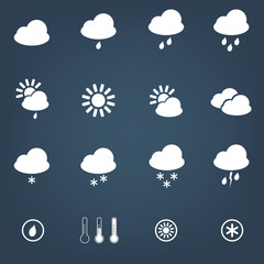 Vector weather icons set on dark background