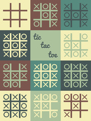 Vector tic tac toe game with all combinations and variants