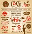 Valentine's day newspaper design elements collection - 77043483